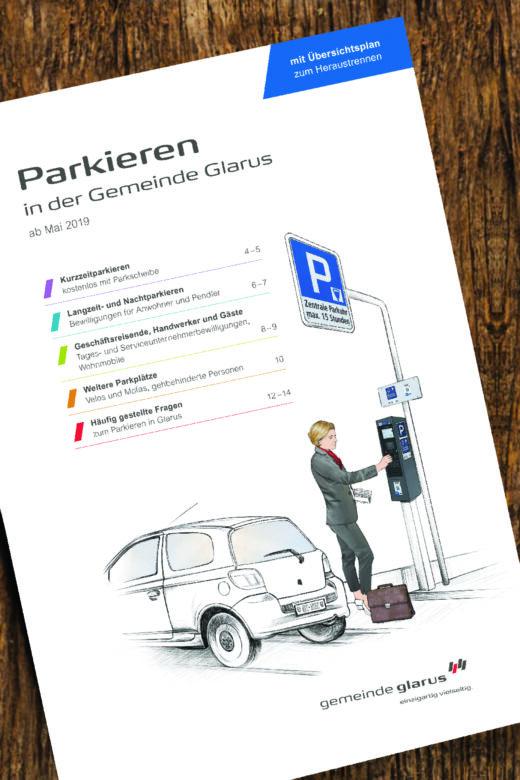 Beratung | PR | Publishing: Broschüre und Übersicht zum Parkierungsangebot in Glarus